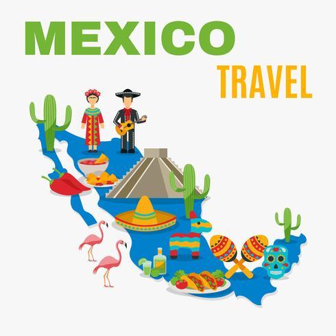 Carte du fond du Mexique vecteur