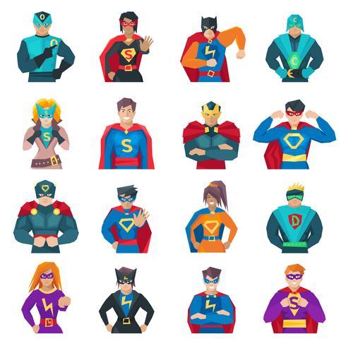 Jeu d'icônes de super-héros vecteur