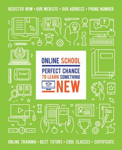 Concept de design d'éducation scolaire en ligne vecteur