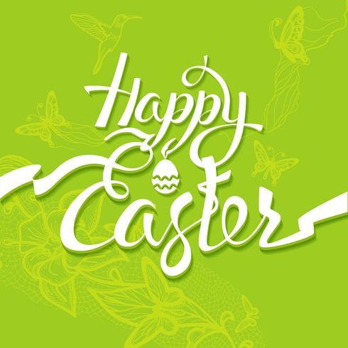 Signe de Joyeuses Pâques, symbole, logo sur fond vert. vecteur