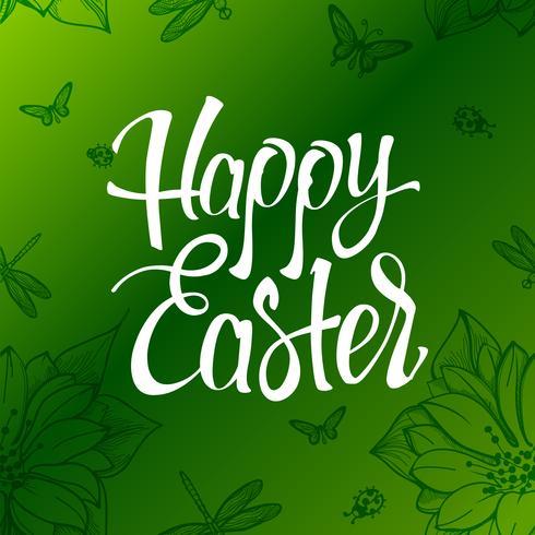 Joyeuses Pâques signe, symbole, logo sur fond vert avec les fleurs. vecteur