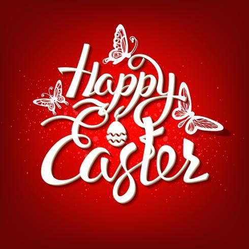 Signe de Joyeuses Pâques, symbole, logo sur fond rouge. vecteur