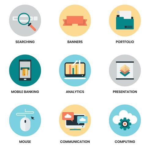 Icônes d'affaires définies pour les entreprises vecteur
