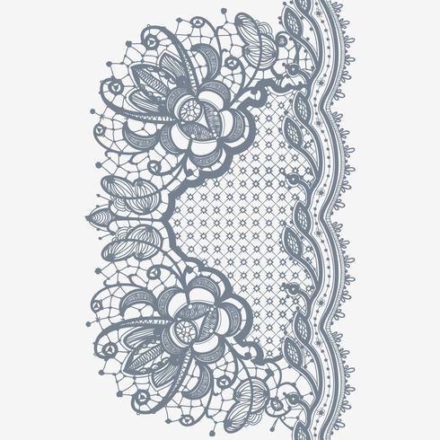 Modèle sans couture verticale de ruban de dentelle abstraite. vecteur
