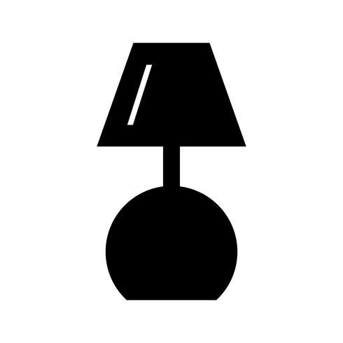 Icône de glyphe de lampe noir vecteur