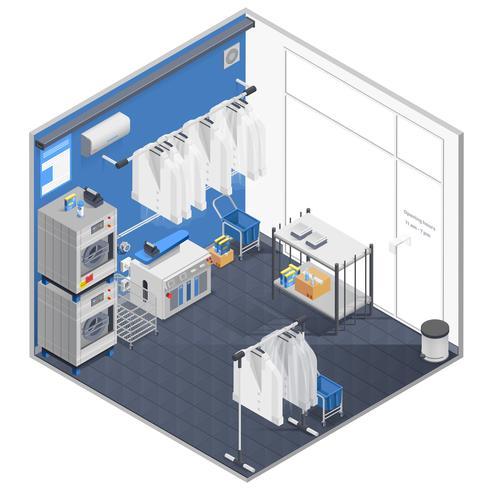 Concept isométrique de blanchisserie et de nettoyage à sec vecteur