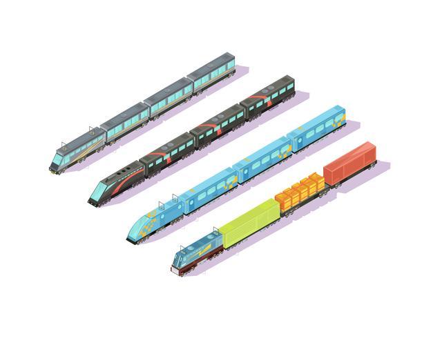 wagons de train en formation set vecteur