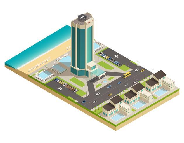 Composition isométrique du bâtiment de l'hôtel de luxe vecteur