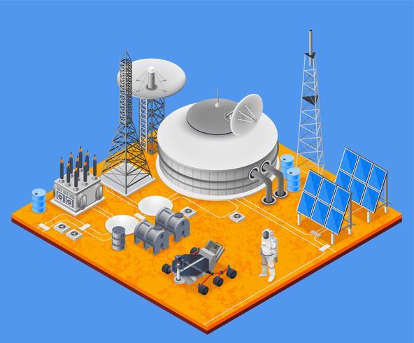 Concept isométrique de la station spatiale vecteur