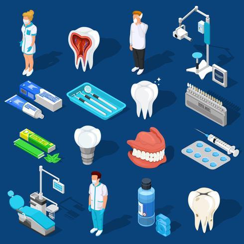 Ensemble d'éléments de travail dentaire vecteur