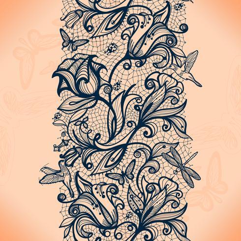 Abstrait point ajouré sans couture avec fleurs et papillons. Papier peint infiniment, décoration pour votre design, lingerie et bijoux. vecteur