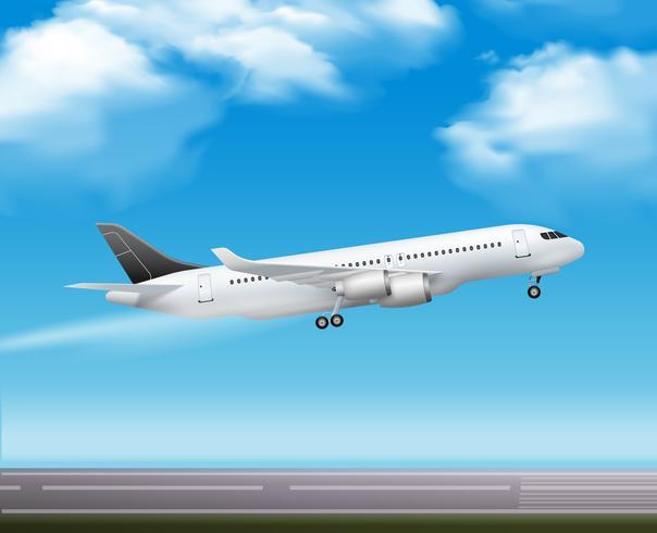 Affiche réaliste de décollage d'avion de ligne vecteur