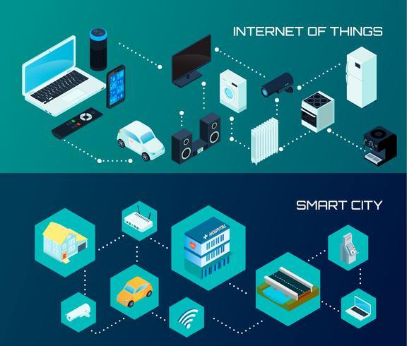 Jeu de bannières isométriques Smart City vecteur