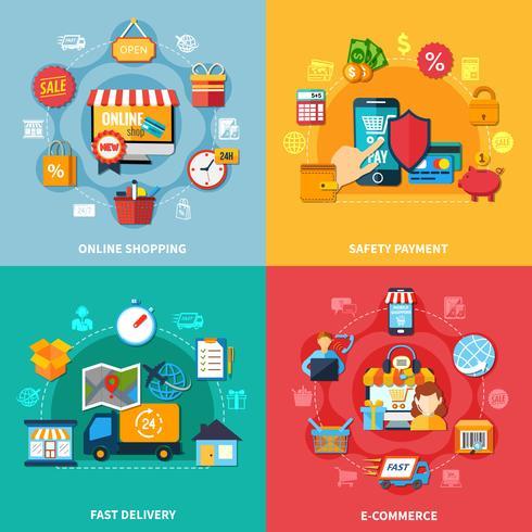 e-commerce composition colorée vecteur