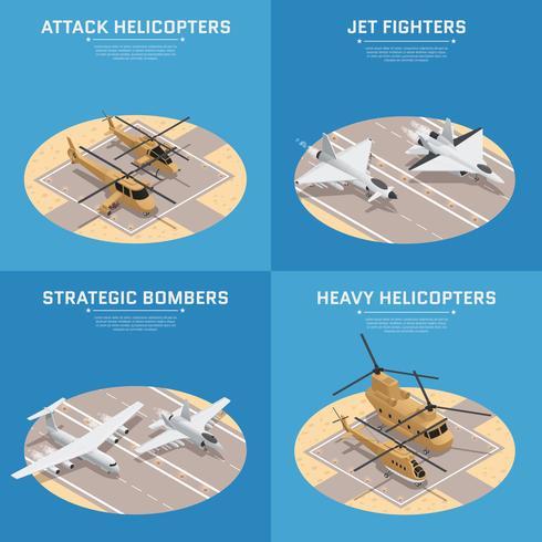 jeu d'icônes isométrique air force vecteur