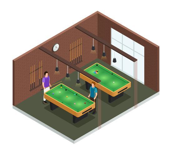 Composition intérieure du club de jeu isométrique vecteur