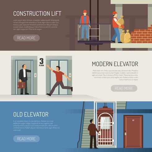 Ensemble de bannières horizontales pour ascenseur vecteur