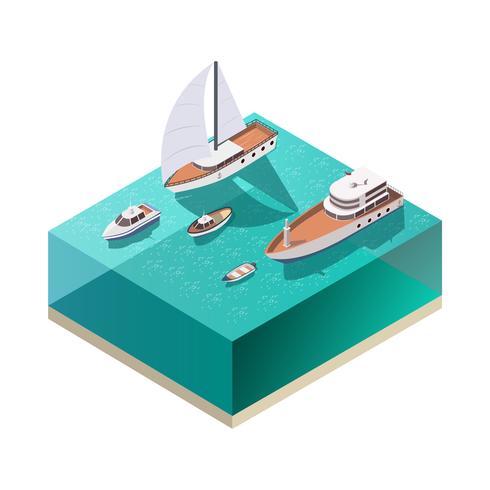Composition isométrique des navires vecteur