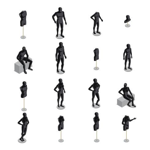 mannequins isométrique vecteur