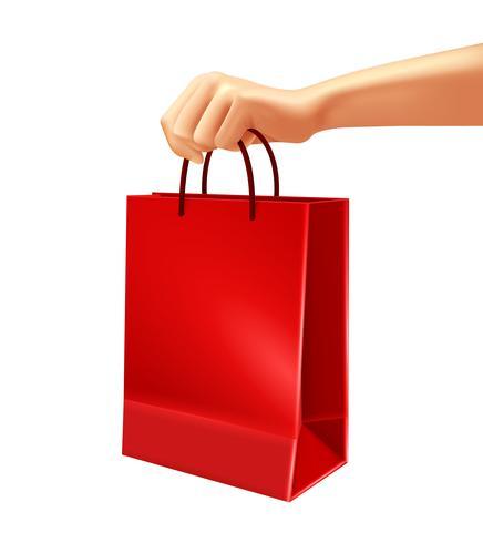 Main, tenue, rouge, sac shopping, illustration vecteur