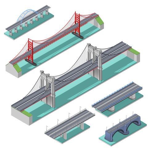 Pont isométrique Set vecteur