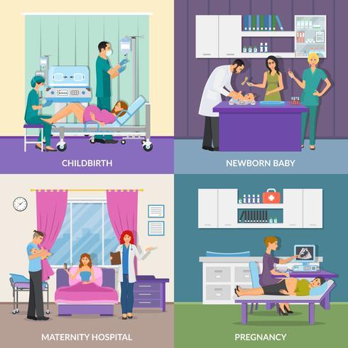 Concept de design de l'hôpital de maternité 2x2 vecteur