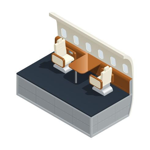 Composition isométrique intérieure d'avion vecteur