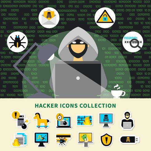 Collection d'icônes d'activité de pirate vecteur