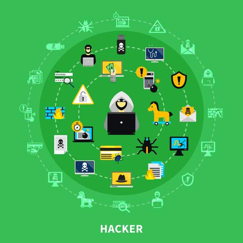hacker rond jeu d'icônes vecteur