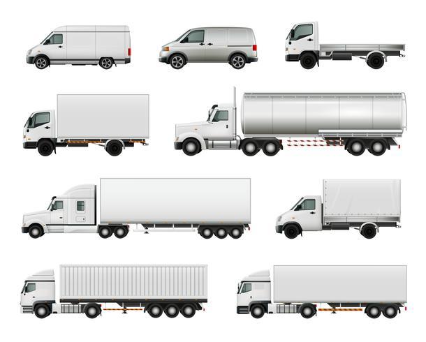 Ensemble de véhicules cargo réalistes vecteur