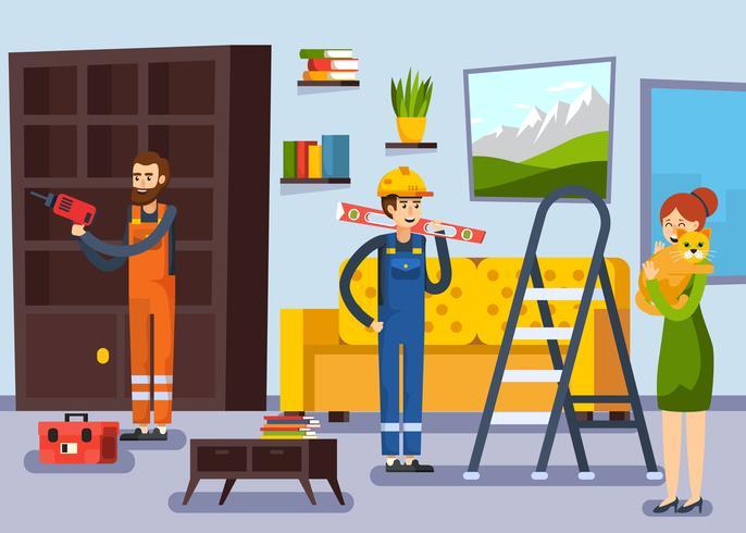 Affiche plate d'ouvriers de rénovation à la maison vecteur
