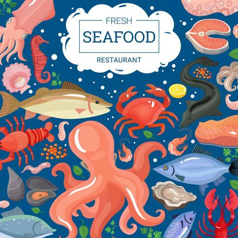 Fond de restaurant de fruits de mer frais vecteur