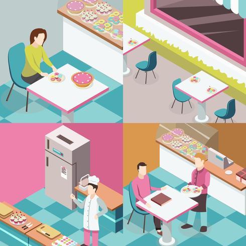 Concept de design isométrique Sweet Shop vecteur