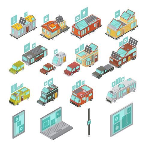 Ensemble isométrique de maisons mobiles vecteur