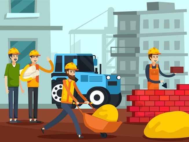 Affiche plate de personnages de travailleurs de la construction vecteur