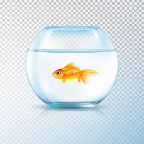Bol à poisson doré réaliste transparent vecteur