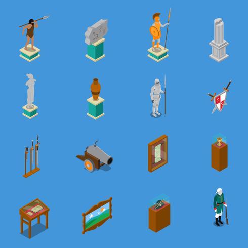 Musée isométrique Icons Set vecteur