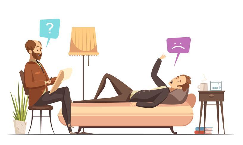 Session de psychothérapie Illustration de dessin animé rétro vecteur