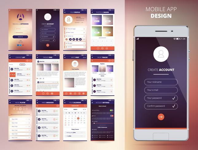 Modèles d'application pour smartphone vecteur