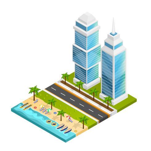 Concept de ville et de plage vecteur