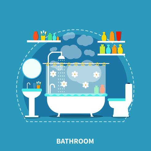 Concept d'intérieur de salle de bain vecteur