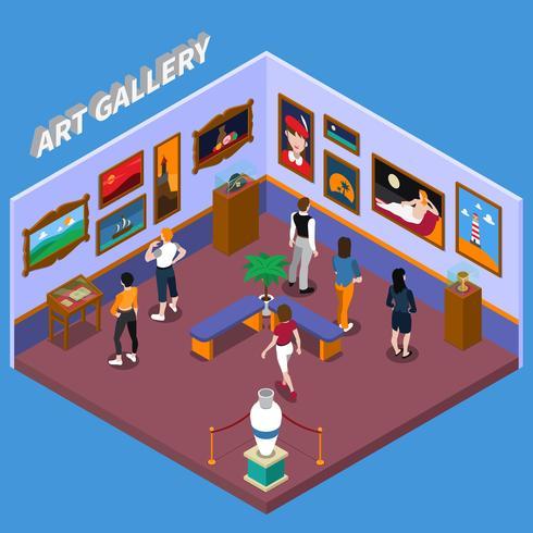 illustration d'art isométrique galerie d'art vecteur
