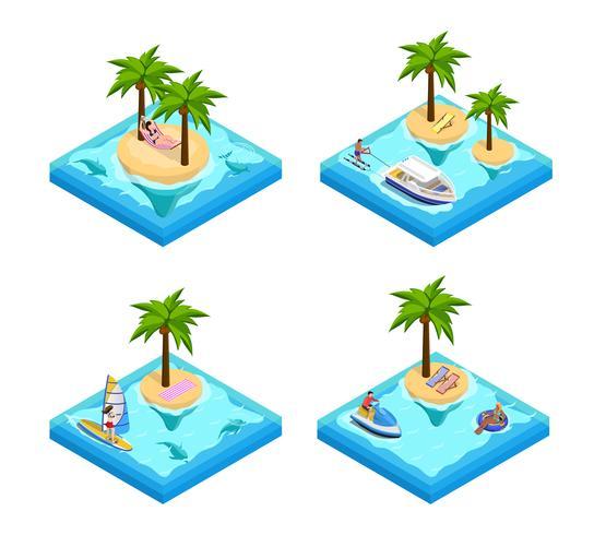 Ensemble isométrique de vacances sur l'île vecteur