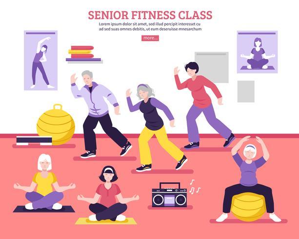 Affiche plate de cours de conditionnement physique senior vecteur