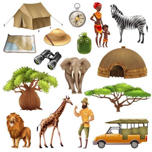 safari set jeu d'icônes vecteur