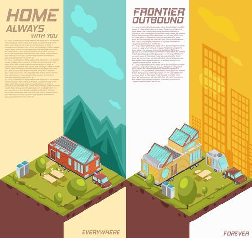 Bannières isométriques verticales pour maison mobile vecteur