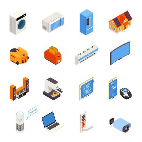 Collection d'icônes isométriques Smart Home Technology vecteur