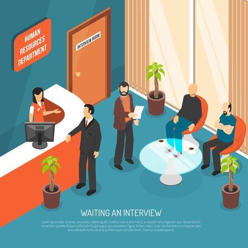 Illustration de la zone d'attente des entretiens vecteur