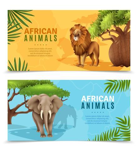 Animaux Safari Bannières Horizontales vecteur