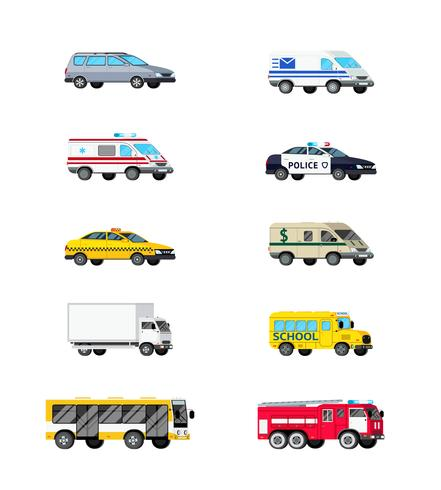 Jeu d'icônes de véhicules à moteur vecteur
